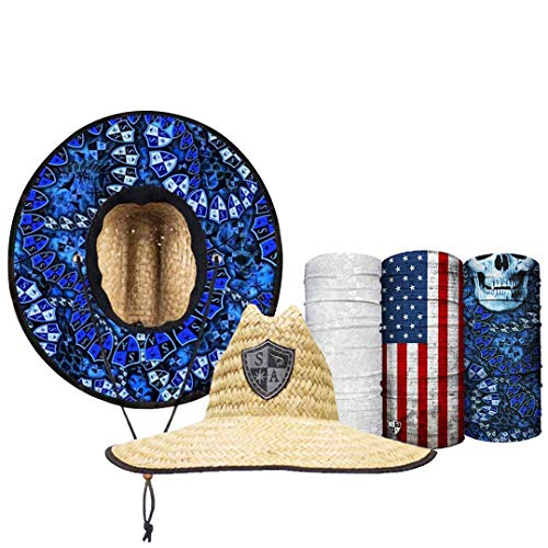 S A Straw Hat Pack - Hydro Under Brim Straw Hat for Men and Straw Hat for Women - UPF 50+ Sun Hats and 3 Face Shields Beige