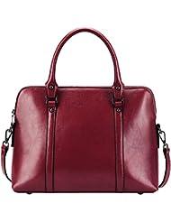 S-ZONE Womens Genuine Leather Handbag Slim 14-inch Laptop Briefcase Purse Shoulder Bags Tote Bag