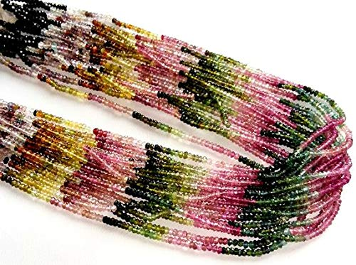 Faceted Tourmaline Gem - Natural Multi Tourmaline Faceted Beads,Amazing Quality Tourmaline Faceted rondelles,Wholesale Price,2 mm - 3 mm Approx,13