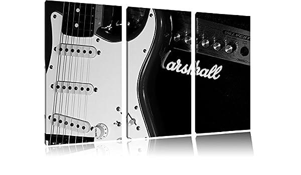 Guitarra eléctrica con amplifier3-piece lienzo 120 x 80 en lienzos de fotografía con marcos de tamaño grande, en la pared con cuadros de arte marco, ...