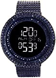KING MASTER 65.00ct Lab Made Diamond Watch Aqua Master Fully Iced Out Mens Digital Watch Black Stainless Steel Metal Band
