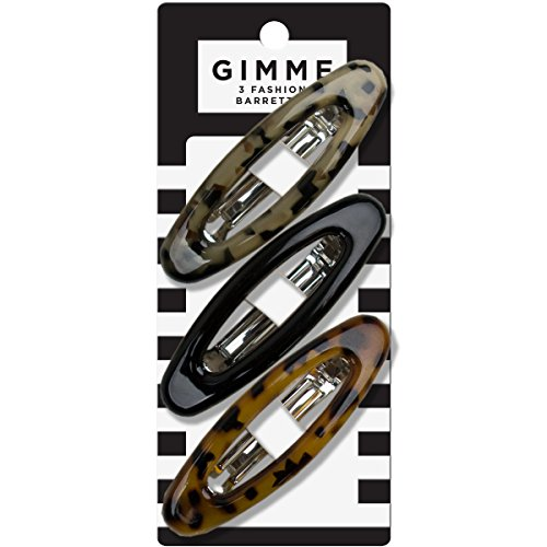 GIMME Tortoise Shell Oval Barrettes 3pc Oval Tortoise Shell