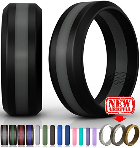 Silicone Wedding Ring by Knot Theory (Black / Slate Grey Line, Size 8.5-9) - 8mm Band for Superior Comfort, Style, and Safety