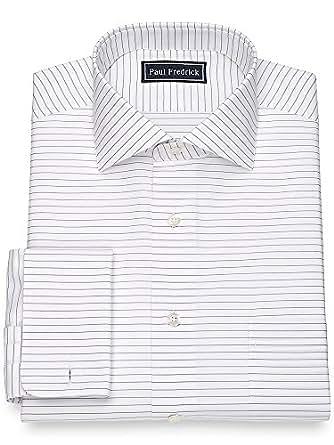 Paul fredrick men 39 s slim fit cotton horizontal stripe for Horizontal striped dress shirts men