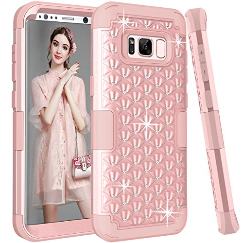 Galaxy S8 Glitter Case w/ Sparkly Bling Rhinestones, Hocase Drop Resistant Heavy Duty Silicone Rubber Bumper+Hard Back Hybrid Protective Phone Case for Samsung Galaxy S8 2017 - Rose Gold (Pink Hard Rubber)