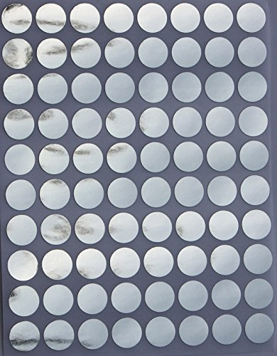 "Solid Color Coding Labels 1/2"" Round 13mm - Dot Stickers -- half inch rounds METALLIC SILVER sticker -- 1200 pack"