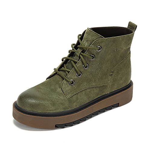 Women's Martin boots winter retro personality thin section short boots tide shoes ( Color : Green , Size : US:5UK:4EUR:35 ) by LI SHI XIANG SHOP
