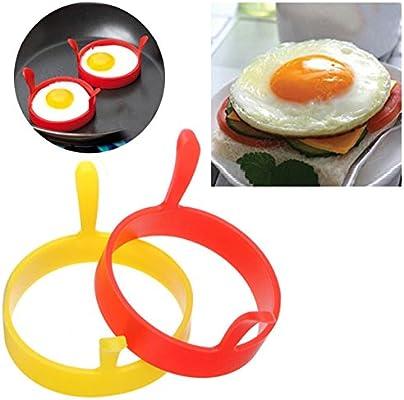 Hengbaixin - Molde redondo de silicona para huevos y panqueques con mango antiadherente para cocinar huevos fritos, color al azar