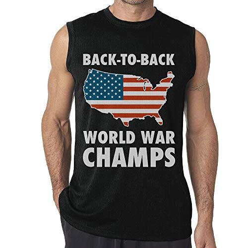 Men Sleeveless T Shirt Back to Back World War Champs USA 100% Cotton Bodybuilding T Shirt