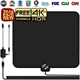 HD TV Antenna Indoor, Updated 2018 Newest HDTV Digital 4K / 1080P Antennas Signal Amplifier Booster, More High-Definition Free Channels, Long Enough Coax.