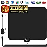 HD TV ANTENNA INDOOR, Updated 2018 Newest HDTV Digital 4K / 1080P Antennas with Signal Amplifier Booster, More High-Definition And Free channels, Long enough Coax.