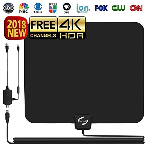 HD TV Antenna Indoor, Updated 2018 Newest HDTV Digital 4K / 1080P Antennas with Signal Amplifier Booster, More High-Definition and Free Channels, Long Enough Coax. For Sale