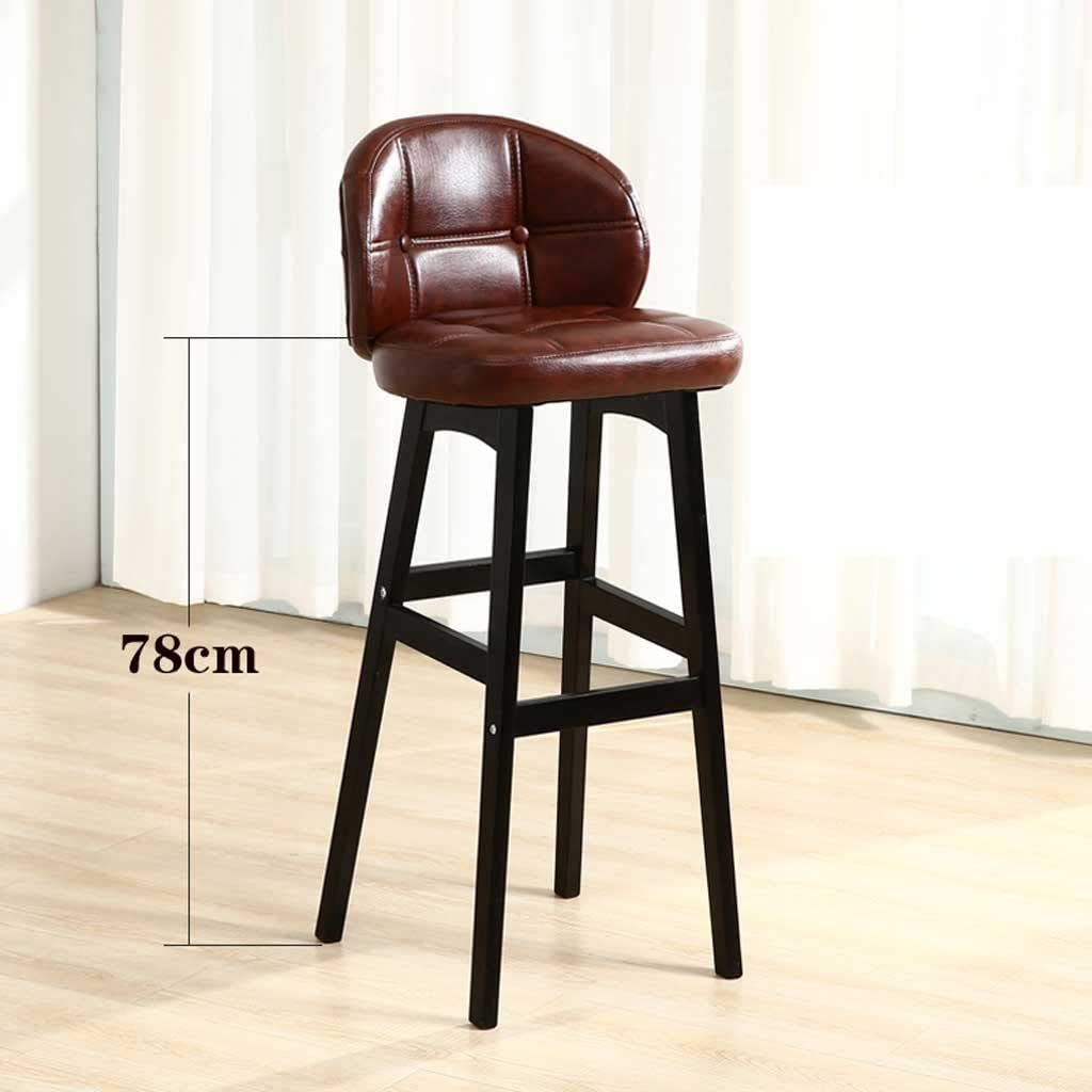 Stools Bar Stool, Coffee Stoo Solid Wood High Stool Dining Chair Bracket PU Seat Kitchen Tea Study Living Room Anti-skid Chair (Color : C) G