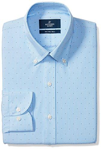 - BUTTONED DOWN Men's Slim Fit Button-Collar Pattern Non-Iron Dress Shirt, Light Blue Stripe Dot, 16.5