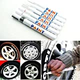 (8Color by DUBU) Tyre Permanent Paint Pen Tire Metal Outdoor Marking Ink Marker 1pc (White)