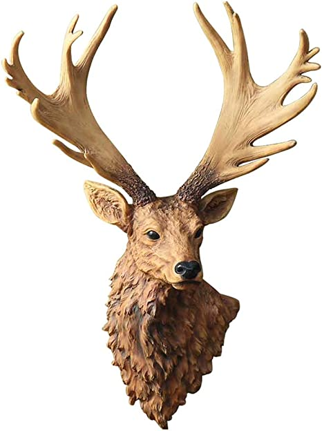 Kbai 3d Wall Decoration Sculpture Diy Retro Simulation Resin Deer Head Art Crafts Wall Hanging Creative Hotel Cafe Living Room Animal Decorations Wall Mount Color B Home Kitchen