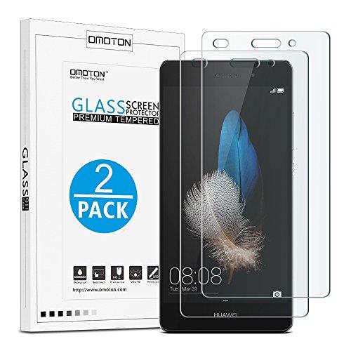 [2Stück] OMOTON Schutzfolie für Huawei P8 Lite- Hartglas Displayschutzfolie für Huawei P8 lite mit [2.5D abgerundete Kanten ] [9H Härte] [Kristall-klar [kratzfest] [Luftbläschen-frei]
