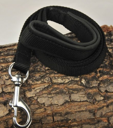 Dean & Tyler Padded Puppy Double Ply Nylon Dog Leash with Black Padded Handle and Stainless Steel Hardware, 2-Feet by 3/4-Inch, Black