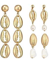 3 Pairs of Shell Earrings Set Pendant Earrings Beach Earrings Accessories for Women Girl