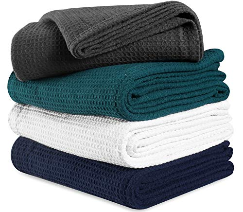Thermal Weave - 100%Soft Premium Cotton Thermal Blanket in Waffle weave 102x90 King Charcoal ,All Season Blanket,Breathable Cotton Thermal Blanket,Light Thermal Blanket,Perfect for Layering Any Bed-Provides Comfort