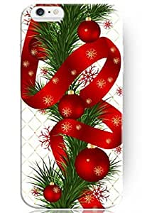"""ZLXUSA(TM) New Personalized Hard Red Ribboon and Balls for Apple 6 Plus (5.5"""") Christmas for iPhone Case hjbrhga1544"""