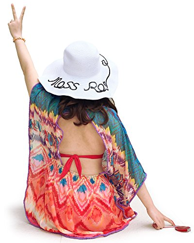 - Moss Rose Women's Beach Cover up Casual Blouse with Floral Print (Color10)
