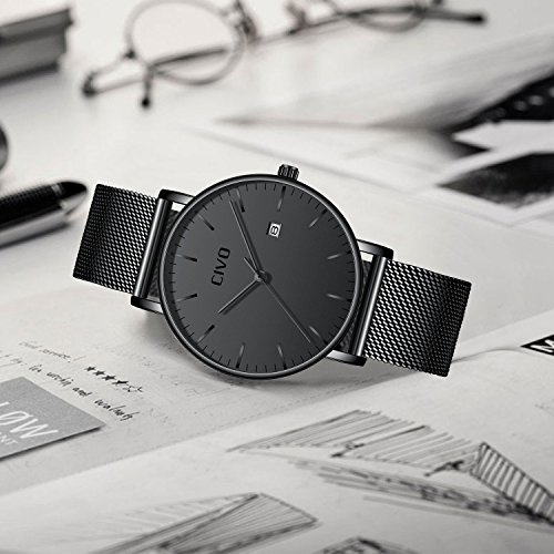 CIVO-Mens-Watches-Ultra-Thin-Minimalist-Fashion-Casual-Business-Luxury-Date-Calendar-Waterproof-Analogue-Quartz-Wrist-Watch-for-Men-with-Stainless-Steel-Mesh-Band-Black