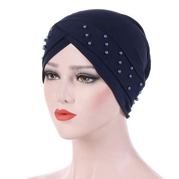 kakakooo Estiramiento turbante sombrero musulmán volante de Chemo del cáncer  Beanie bufanda de pelo para las mujeres cabeza pañuelo en la cabeza  envuelve ... 19a719bca528