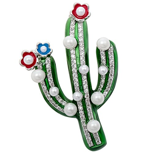 YACQ Jewelry Cubic Zirconia CZ Flower Floral Cactus Brooch Pin Pendant Gifts for - Floral Brooch Pendant