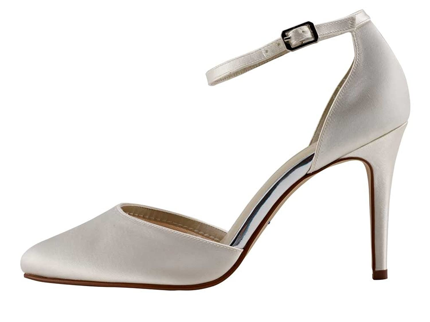 Rainbow Club Carly - Ivory Satin High Heel Bridal Court Shoe with Ankle  Strap: Amazon.co.uk: Shoes & Bags