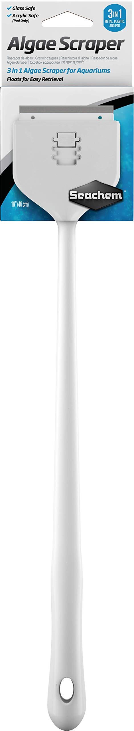 Seachem 3-in-1 Algae Scraper Tool - 18 Inch Retractable, Adjustable Aquarium Cleaning Tool by Seachem