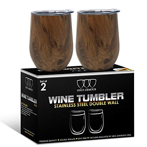 2Pack Stainless Steel Stemless Wine Glass Tumbler with Lid, 12 oz | Double Wall Vacuum Insulated Travel Tumbler Cup - Sweat Free, Unbreakable, BPA Free (Pattern: Wood Grain) (Stemless Stainless Steel Wine Glass With Lid)