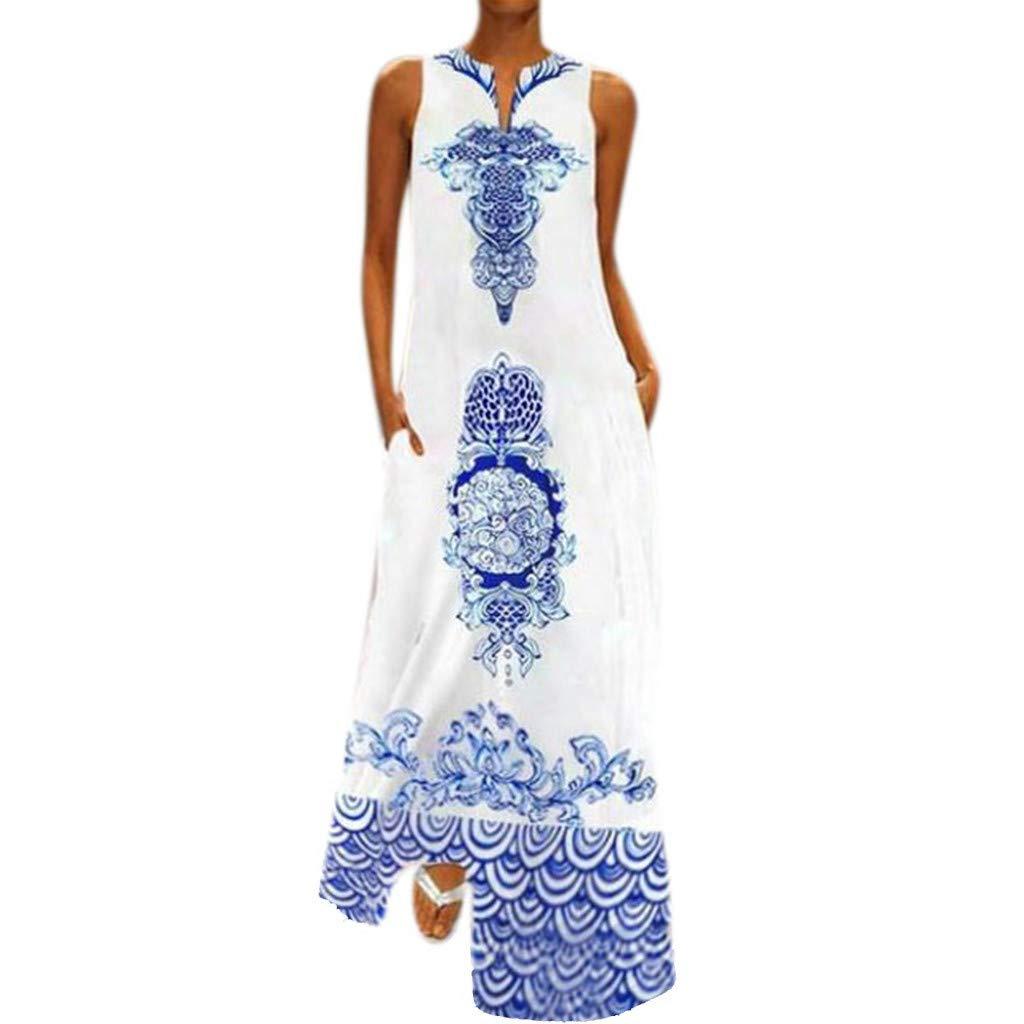 Women Hem Baggy Maxi Tank Long Dress Casual Sleeveless V-Neck Flower Print Kaftan Dresses