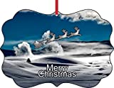 Santa & Sleigh Over Snowy Yellowstone National Park-Double-Sided Flat Benelux Holiday Tree Ornament Made in the USA offers