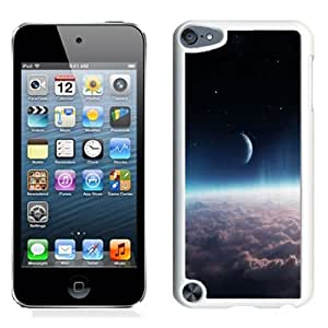 Hot Sale iPod Touch 5 Cover Case ,Crescentic Moon Over Thick Clouds White iPod Touch 5 Phone Case Unique And Fashion Design