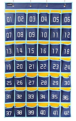 Misslo Numbered Classroom Pocket Chart for Cell Phones, 42 (Calculator Pocket Storage)