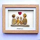 Family of Four- Handmade Pebble Art Picture - Light Frame