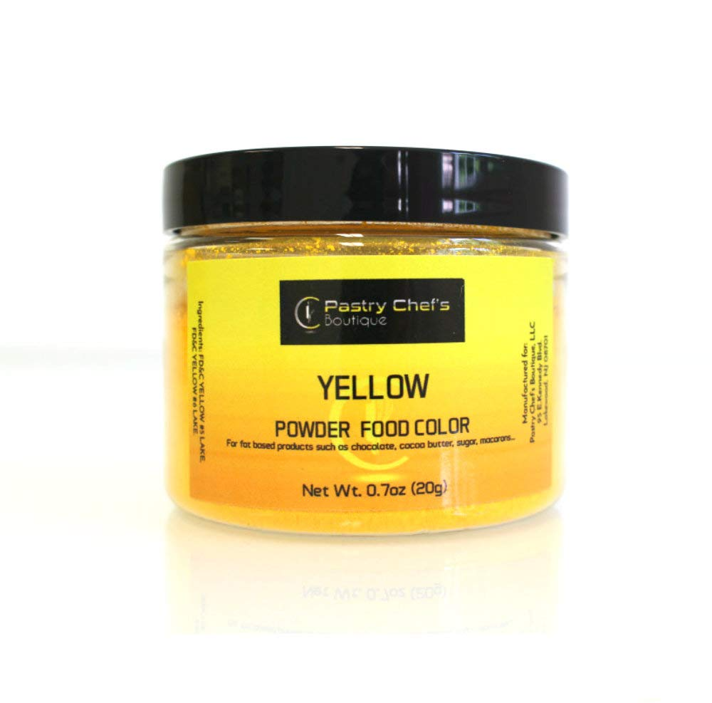 Pastry Chef's Boutique Fat Soluble Powder Food Color - Great for Coloring Chocolate and Cocoa Butter - 1Oz. - Yellow