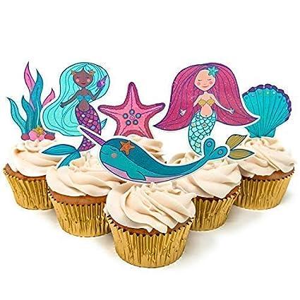 Adornos para cupcakes y tartas de sirena (24 unidades), la ...