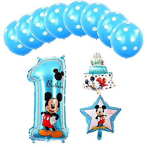 Mickey Mouse Globos Decoracion De Azul Cumpleaños Para Niños Bebe 1 Año Niño Set Ebay