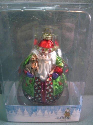 Jim Shore Santa w/ Cat Blown Glass Dashaway Christmas Ornament
