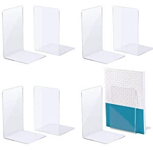 """Jekkis Book Ends, 4 Pairs/8 Pieces Acrylic Bookends for Shelves, L-Shaped Clear Plastic Bookends for Home Office Library, 7.3"""" x 4.8"""" x 4.8"""""""