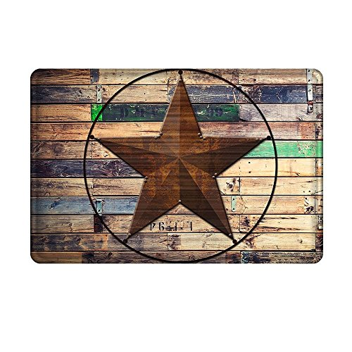 Crystal Emotion Rustic Vintage Star on Wooden Flannel,Entrance Mat Floor Mat Rug Indoor/Outdoor/Front Door/Bathroom Doormat