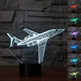 JET Air Plane USB Desk Lamp 3D Lamp light LED 7 Color Change 3D Night Light Remote Touch Switct Baby Bedroom Table Lamp