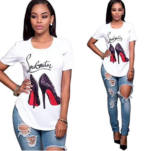 Rdambs Women Funny High Heels Short T-Shirt for Women Graphic Shirts for Teen Girls (White, Medium)
