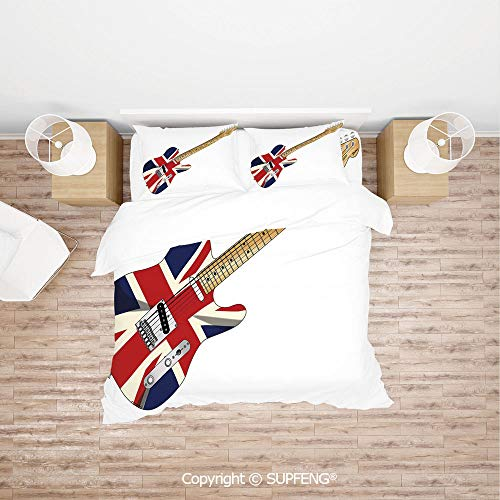 SCOXIXI 3D Bedding Sets Classical Electric Guitar UK Flag Great Britain Music Instrument Decorative (Comforter Not Included) Soft, Breathable, Hypoallergenic, Fade Resistant