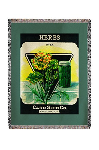 (Lantern Press Herbs (Dill) Seed Packet 1457 (60x80 Woven Chenille Yarn Blanket) )
