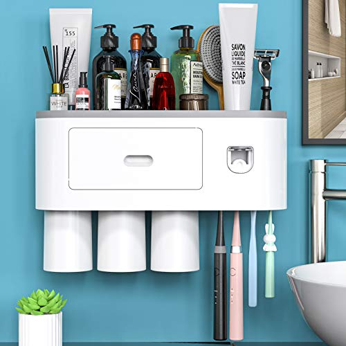 Wall Mounted Toothbrush Holder for Bathroom, Automatic Toothpaste Dispenser Kit with Magnetic Cups Kids & Family Set Toothbrush Holders, Storage Rack & Easy Install, Durable Space-Saving