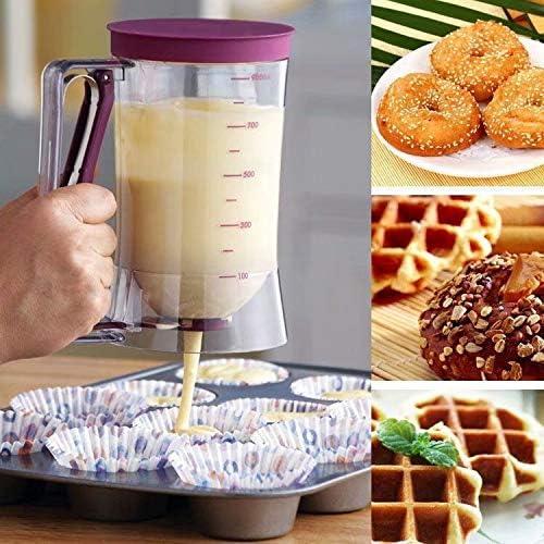 Big Bargain Store カップケーキ、ワッフル、マフィンミックス、クレープ、ケーキ、その他の焼き菓子 キッチンフードガジェット パンケーキ&カップケーキバッターディスペンサー 耐熱皿メーカー用の完璧なベーキングツール