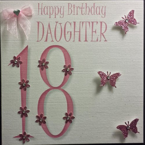 Happy birthday card daughter 18th birthday butterflies beautiful happy birthday card daughter 18th birthday butterflies beautiful flowers and a bow handmade card amazon kitchen home bookmarktalkfo Images